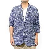 テーラードジャケット メンズ 大きいサイズ 七分袖 スラブ サマーニット 薄手 ジャガード柄 切替 ジャケット 4L 杢ネイビー(73)