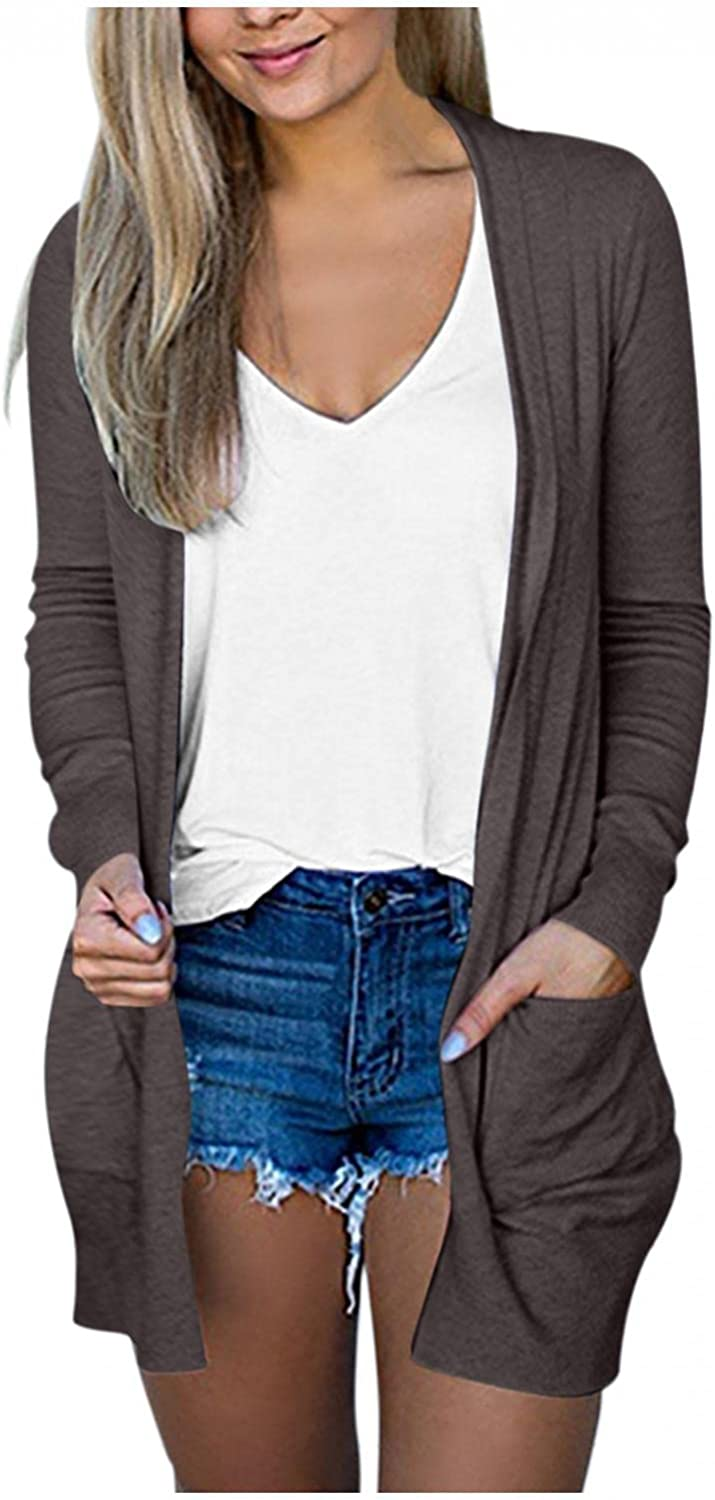 Cardigan Sweaters for Women, Women's Solid Open Front Casual Long Sleeve Knit Classic Sweaters Cardigan with Pockets