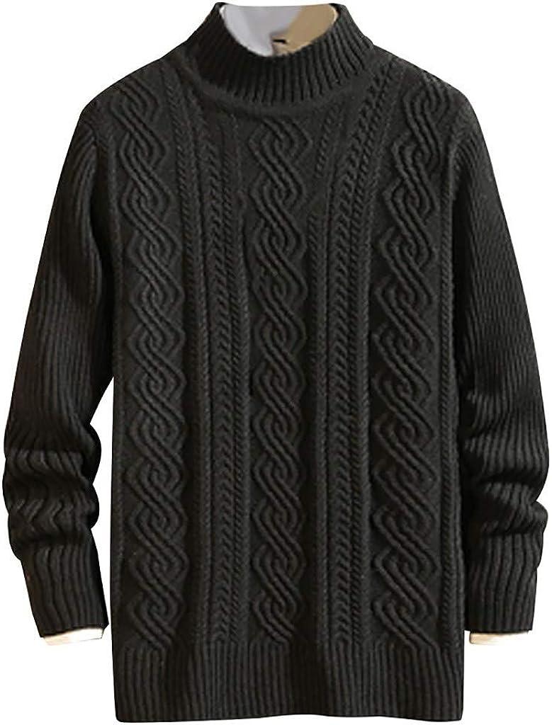 MODOQO Men's Slim Fit Knitted Sweater Long Sleeve Solid Winter Warm Soft Coat