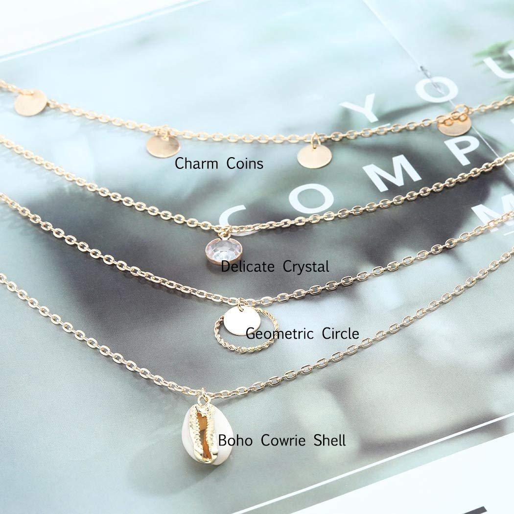 Fdesigner Boho Layered Cowrie Shell Necklace Gold Coins Round Circle Pendant Necklaces Chains Crystal Decorative Jewelry for Women and Girls