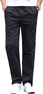 Gmardar Mens Smart Casual Chino Cotton Trousers Pants with Elasticated Waist Loose Fit