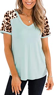 PRETTODAY Women's Leopard Print Short Sleeve T Shirts V Neck Color Block Tops Loose Casual Tees