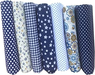 Amosfun Cotton Fabric Bundles Floral Fat Quarters Precut Fabrics for Quilting Sewing Crafting Bedding DIY Patchwork 7pcs