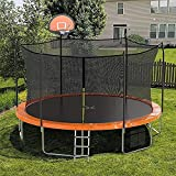 AOTOB 15 FT Trampoline with Enclosure Net,Outdoor Trampoline with Basketball Hoop, Heavy Duty Jumping Mat and Spring Cover Padding for Kids and Adults, 6 Trampoline Stakes, Storage Bag and Ladder