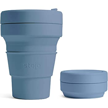 Stojo Aquamarine Blue Silicone Collapsible Coffee Cup