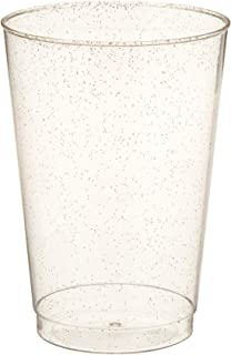 100 Count Hard Plastic 12-Ounce Party Cups/Old Fashioned Tumblers Ideal for Home, Office, Bars, Wedding, Bridal and Baby Shower, Birthday, Retirement, Anniversary, party (Gold Glitter)
