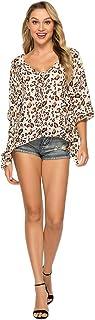 Yinew Leopard V-Neck manica pipistrello sciolto chiffon stampa manica corta top estate moda t-shirt da donna stampa leopar...