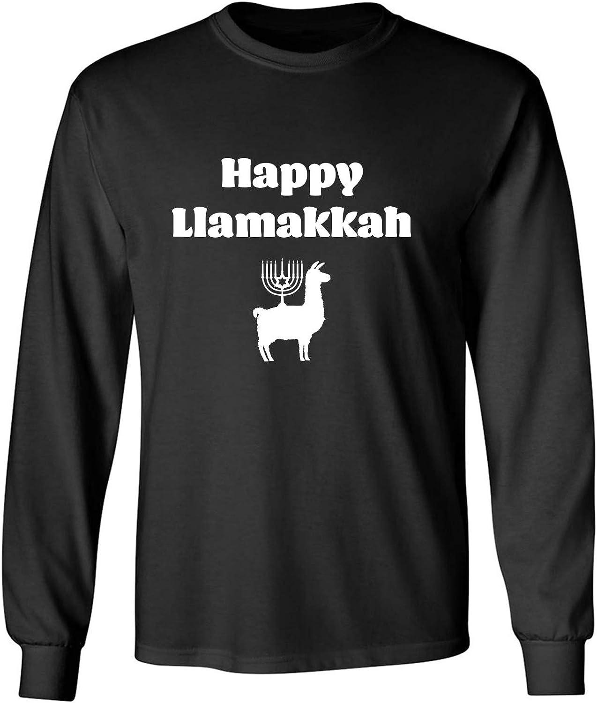 Happy Llamakkah Adult Long Sleeve T-Shirt in Black - XXXXX-Large