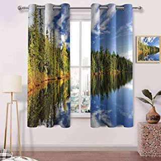 Living Room Curtains W 63 x L 45 inches Bathroom Curtains,Room Darkening Waterproof Curtains for Bathroom,Forest Reflecting on Calm Lake Shore at North Canada Universe Art Print Green Blue White