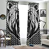 DRAGON VINES Blackout Curtains for Living Room- Thermal Insulated Blackout Curtains Aggressive Animal with Dangerous Expression Scary Roaring Mammal on Zigzag Pattern for Home Decoration W84 x L107