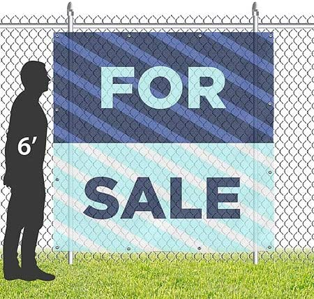 8x8 CGSignLab for Sale Stripes Blue Wind-Resistant Outdoor Mesh Vinyl Banner