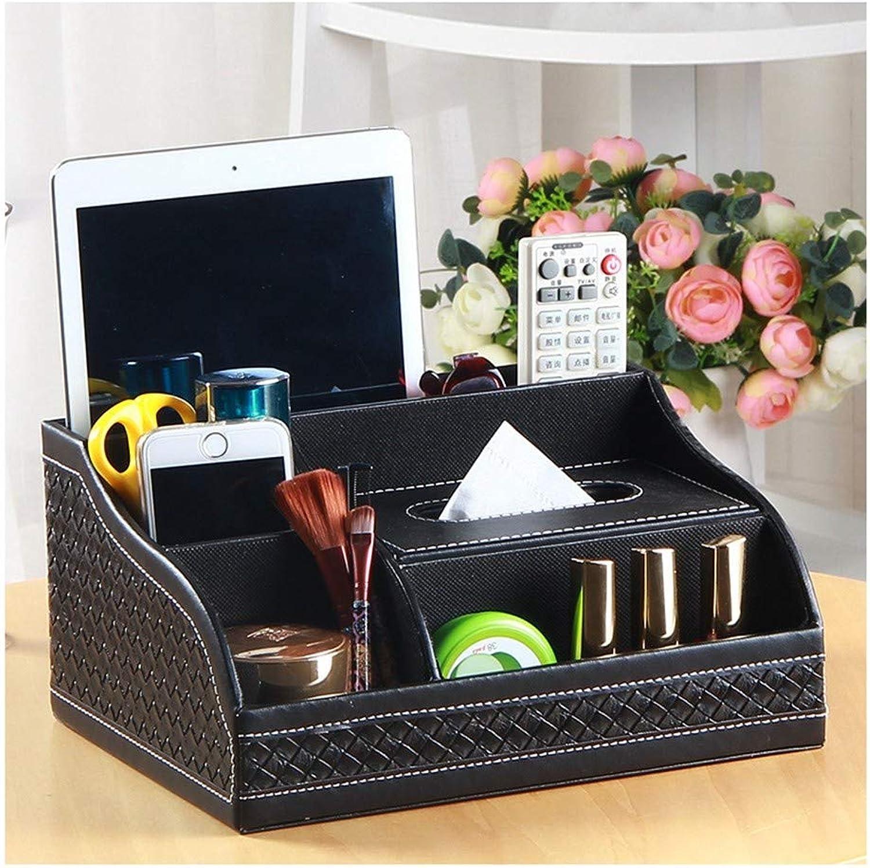 SHUCHANGLE Tissue Box Halter Kosmetiktücher-Box Tissue-Box Multifunktions-Tissue-Box Leder Holz Schwarz Heimtisch Tisch-Tischfernbedienung Aufbewahrungsbox B07NSSRQHP
