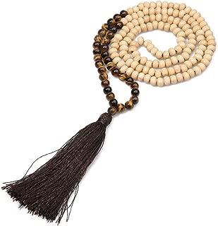 8MM Semi-Precious Gem Stones Wood Mala Bead Necklace Multicolor Tassel Charms Chain Necklace Handmade Beaded Pendant Necklace for Women Men