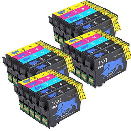 Abcs Printing Compatibili per Epson 16 16XL Cartucce inchiostro per Epson Workforce WF-2510 WF-2630,WF-2530,WF-2760,WF-2520,WF-2660,WF-2750,WF-2650, wf-2540,8 Nero, 4 Ciano,4 Magenta, 4 Giallo