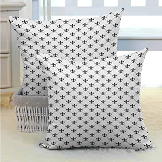 Fleur De Lis Square Throw Pillow Cover Checkered Dotted Pattern with Monochrome Abstract Lily Flower Ancient Revival Standard Size Bedding Gift for Room Bedroom Room Sofa Chair Car 2PCS Black White -