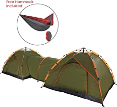 Qwest Double Instant Pop Up Camping Tents with Passageway, Automatic Green Lightweight 17' Long Portable 6-Person, with Free Portable Hammock | Aluminum & Fiberglass Poles | Sets up in Seconds