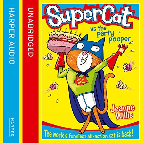 Supercat vs the Party Pooper audiobook cover art