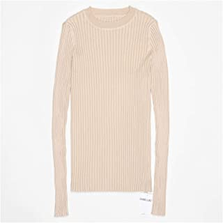 Women Sweater Pullover Rib Knitted Cotton Tops Solid Crew Neck Essential Jumper Long Sleeve Sweaters