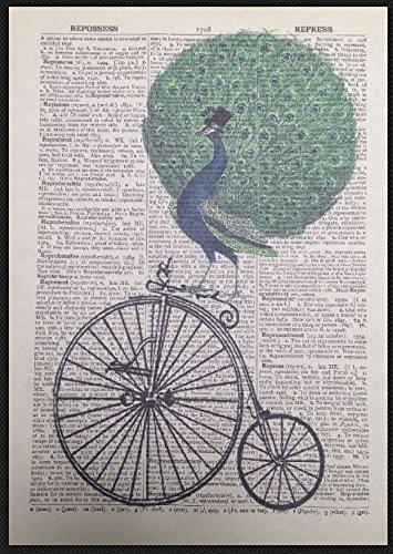 Parksmoonprints pavone vintage pagina dizionario murale immagine divertente proverbio uccello stravagante decorazione casa umoristica Pun regalo bicicletta