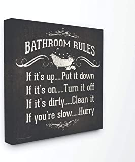 Stupell Home Décor Bathroom Rules BW Icon Stretched Canvas Wall Art, 17 x 1.5 x 17, Proudly Made in USA