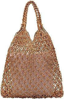 Wultia - Shoulder Bag Women's Fashion Woven Shoulder Bag Solid Color Handbag Woven Bag Beach Bag sac Bolsa Feminina #G8 Khaki