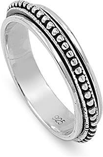 Sterling Silver Bali Spinner Ring (Size 5-13)