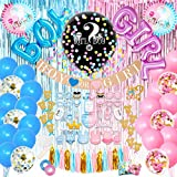 JOYYPOP Gender Reveal Party Supplies 105 Pieces Baby Gender Reveal Decorations kit with 36'' Gender Reveal Balloon, Pink and Blue Balloons, Boy or Girl Gender Reveal Banner, He or She Cake Toppers