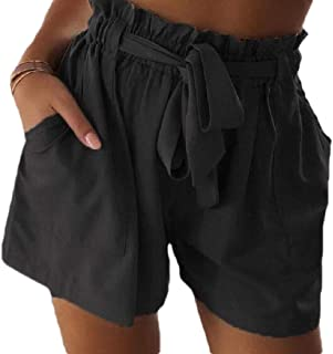 ZXFHZS Womens Pant Baggy Elastic Waist Casual Short High Waist Short