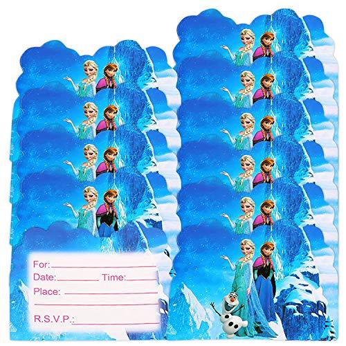 Qemsele inviti Compleanno Bambini, 30 Inglese Inviti Battesimo con Buste Biglietti Cartoline per Bambini, Ragazze Festa di Compleanno e Baby Shower (4,3 * 5,5 Pollici (11 * 14 cm), Frozen)