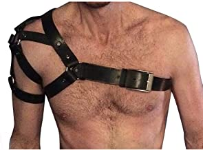 CKMORLS Leather Harness Men - PU Leather Body Chest Half Harness Belt High Elastic