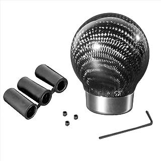 Mcupper-Black Durable Real Carbon Fiber Ball Shift Shifter Knob + 3 Adaptors 8mm 10mm 12mm Inner Diameter Set Car Universa...