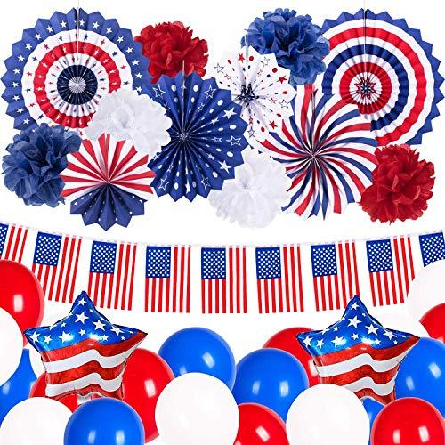 4. Julio Patriótica fiesta decoración Kit rojo blanco azul bandera americana pancartas colgantes abanicos de papel globos pompones de papel para decoración del día Independencia