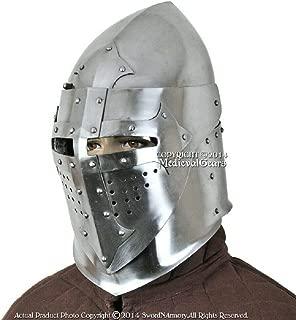 Antique Hub Functional 16G Steel Medieval Knight Pig Face Bascinet Helmet WMA SCA LARP Armor