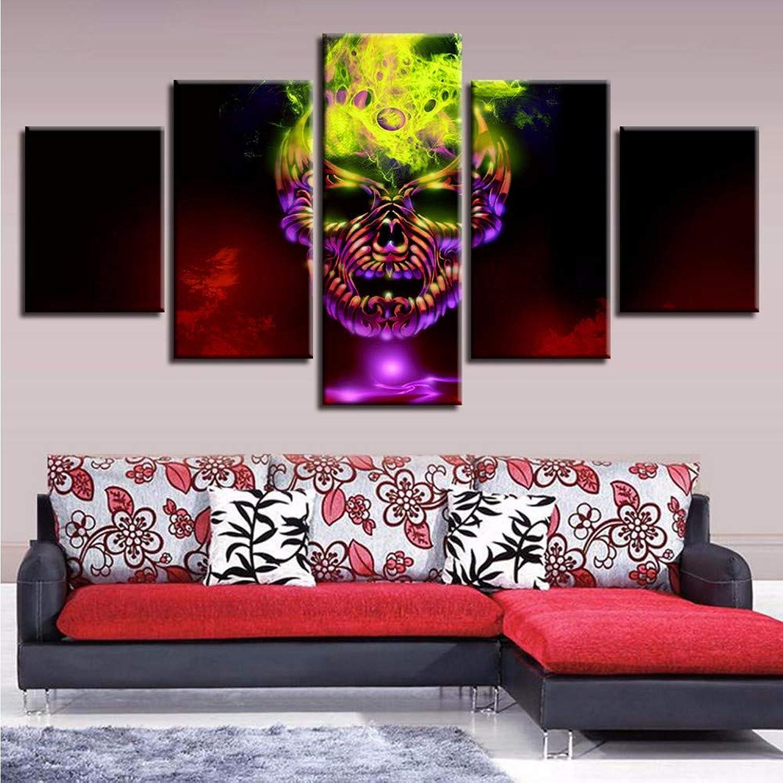 Wsxxnhh Lienzo Arte De La Parojo Fotos HD Prints 5 Unidades Color Abstracto Cráneo Posters Pinturas Modulares Decoración del Hogar para La Sala De Estar Marco-20X35Cmx2 45Cmx2 55Cmx1