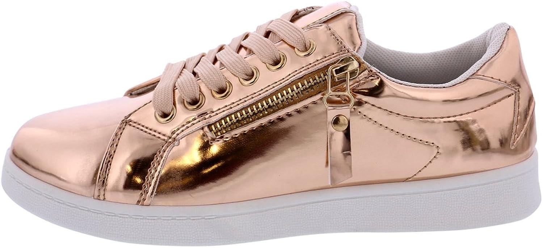Forever Womens Metallic Sneaker - pink gold
