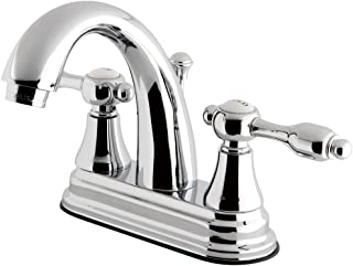 """Kingston Brass KS7611TAL 4"""" Centerset Lavatory Faucet with Brass Pop-Up, Polished Chrome, 4-3/4"""" In Spout Reach"""