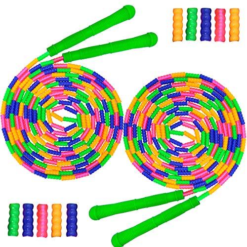 Coolrunner Springseil für Kinder und Erwachsene, 4,6 m lang, 2 Stück, doppeltes holländisches Springseil, weiche Perlen, aus Kunststoff, segmentiertes Springseil, lang genug für 4-5 Pullover