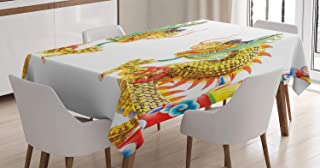 Ambesonne Dragon Tablecloth, Chinese Style Dragon Power Oriental Culture Theme, Dining Room Kitchen Rectangular Table Cover, 52