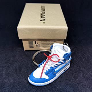 Air Jordan 1 I High Retro Off White UNC Blue OG Sneakers Shoes 3D Keychain Figure with Box