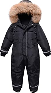 amropi Girls One Piece Snowsuit Hooded Ski Suit Overall Puffer Down Jacket Winter Jumpsuit for 4-8 Years