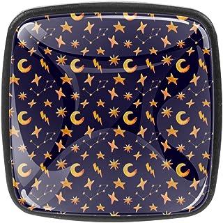 Pomos de armario de Moon and Stars (4 piezas) – Tiradores de cajón con tornillos – Tiradores decorativos para muebles de c...