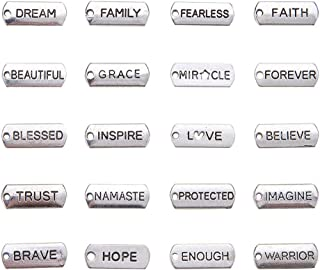 PandaHall Elite About 200 Pcs Tibetan Silver Alloy Inspirational Message Word Charm Pendants 20 Styles 8x21x2mm for Jewelry Making