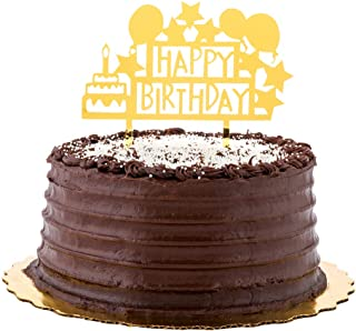 "Restaurantware RWA0543GD Cake Gold Acrylic Happy Birthday Cake Topper - Mirrored, Celebration - 5 3/4"" x 5 1/4"" - 1 count ..."
