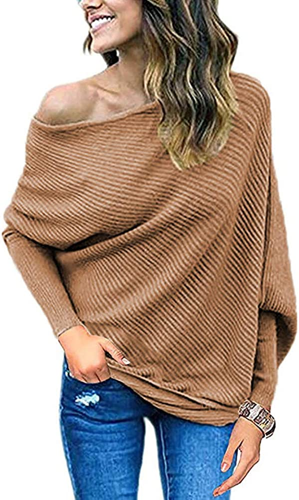 Qearal Womens Off Shoulder Loose Pullover Sweater Batwing Sleeve Knit Jumper Oversized Tunic Tops