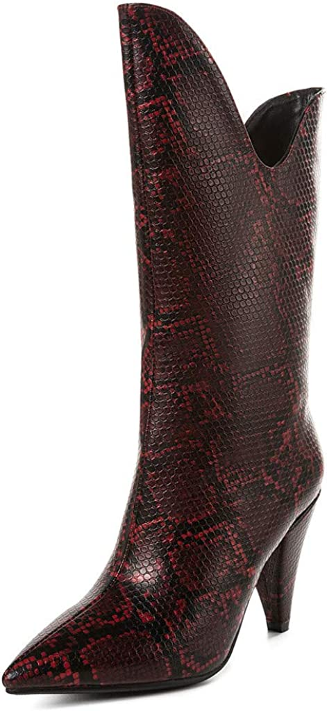 Vedolay Womens Boots Winter Clearance, Women Fashion Snake Print Leather Pointed Toe Fine Heel Shoes Slip-On Mid Boots