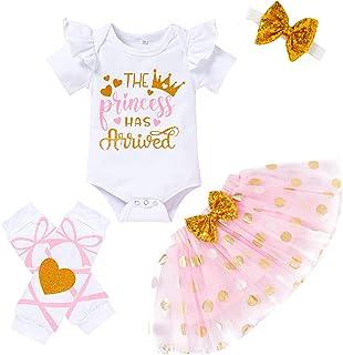 Newborn Baby Girl Outfits Infant Letter Print Romper+Tutu Skirt+Headband+Legging Warmer Coming Home Clothes Set