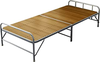 Household items Lit Simple Pliable Cadre de lit en métal Lourd Portable, lit de Visiteur en Bambou intérieur, lit de Pause...