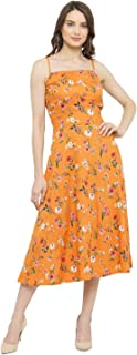 Aahwan Printed Fit and Flare Midi Dress for Women (KV-113)