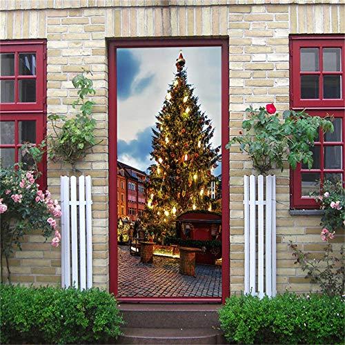 Ygccw Pegatina 3D para ventana, pegatinas de Papá Noel, adhesivo impermeable, papel pintado, adhesivo para puerta corredera, decoración del hogar -Mt128_77 x 200 cm