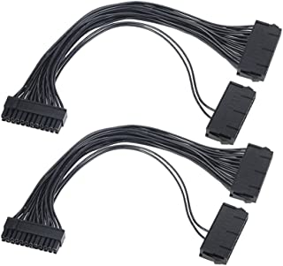 Power Supply Splitter, Hamkot 2-Pack Dual PSU Cable Adapter 24 Pin 20+4 Pin ATX Motherboard Adapter Extension Cable Dual 24-Pin Mining Power Adapter 12 Inch (30CM)